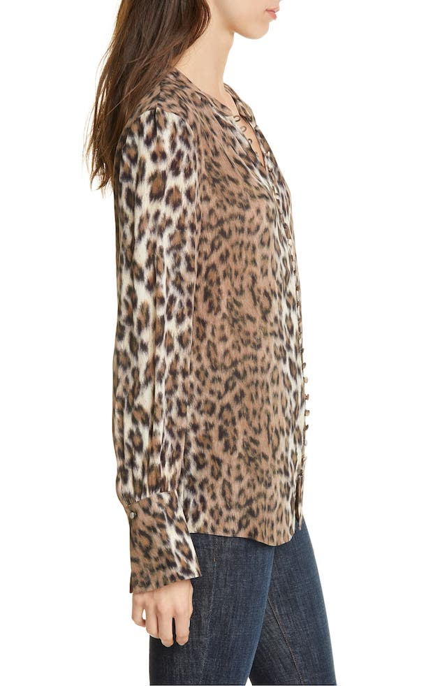 Joie Tariana Leopard-Print Blouse in Light Taupe