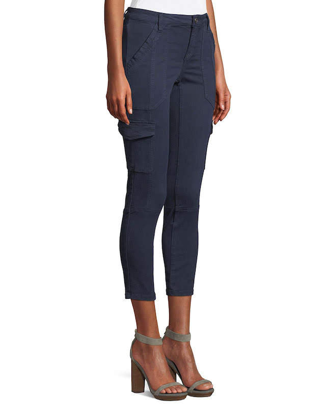 Joie Okana Cropped Cargo Pants in Navy