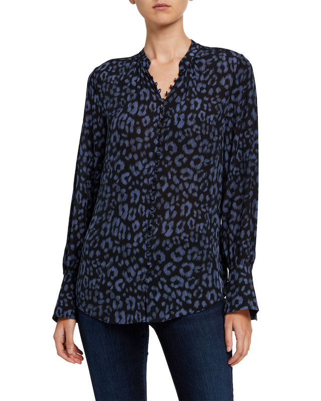 Joie Tariana Leopard-Print Button-Down Top in Midnight