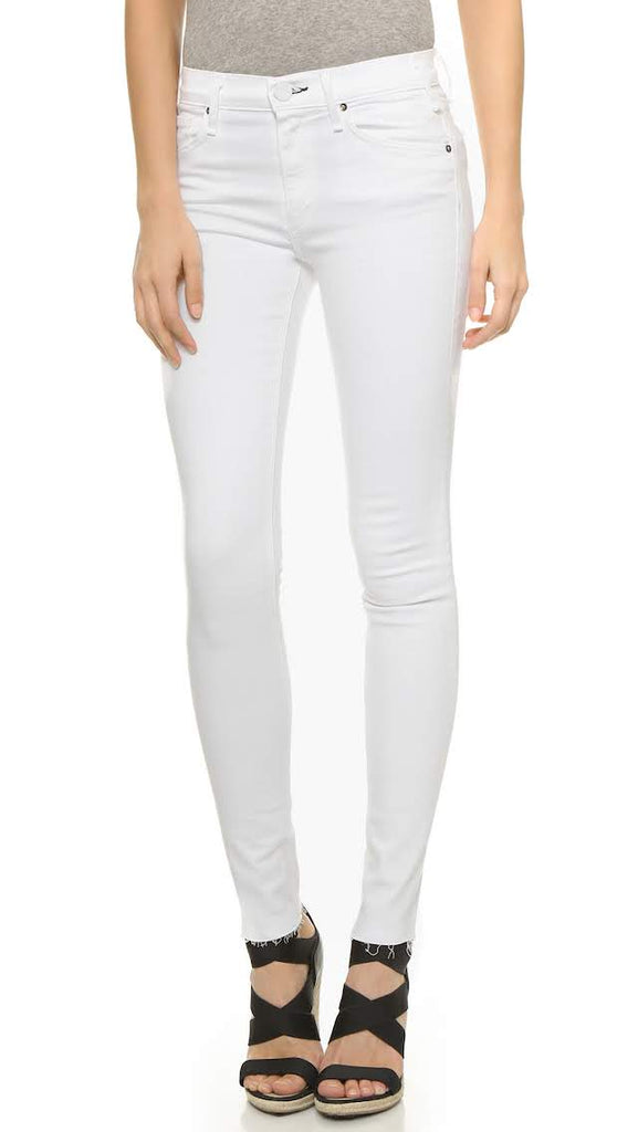 McGuire Denim Newton Skinny Jeans with Raw Hem in White Moon