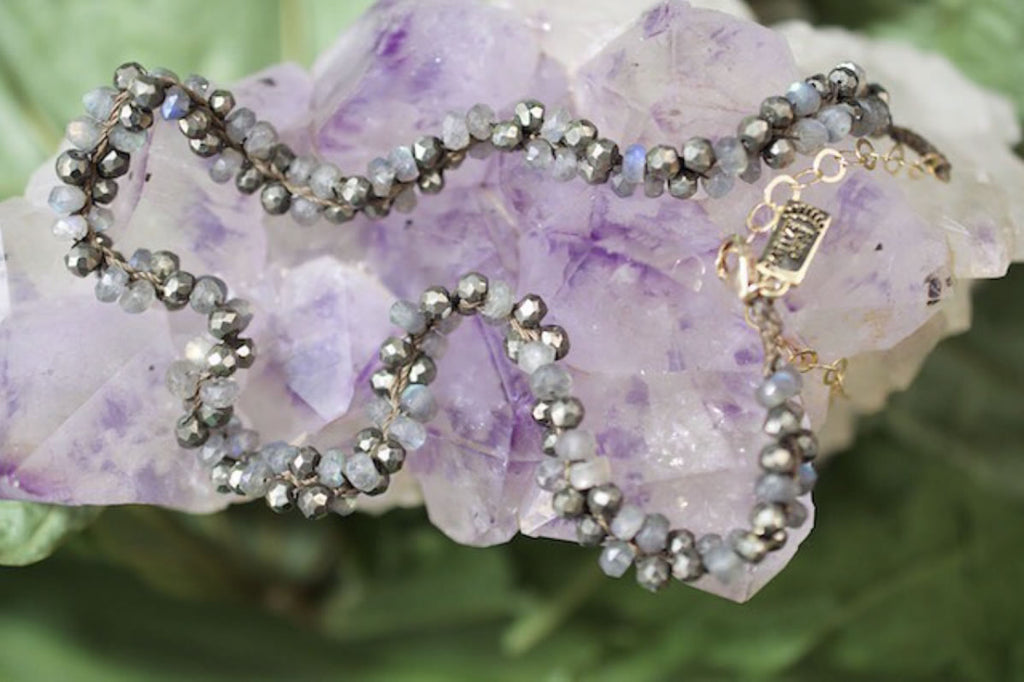Native Gem Francesca Choker in Labradorite + Pyrite