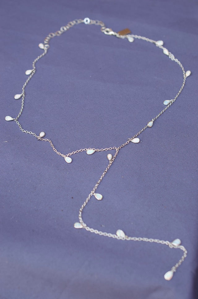 Native Gem Raindrops White Opal Y Necklace