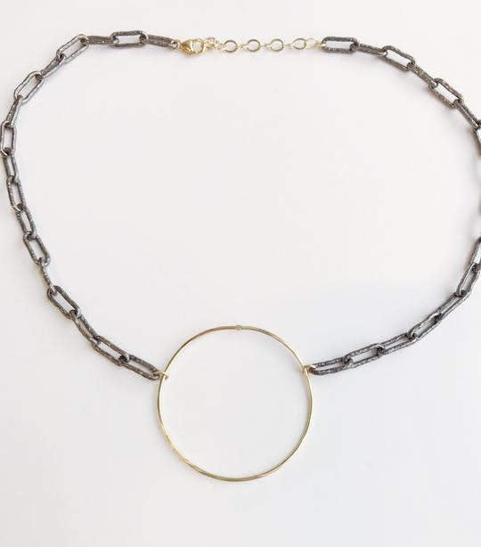 Sonya Renee Charlie Gun Metal Chain Link Necklace with Center Loop