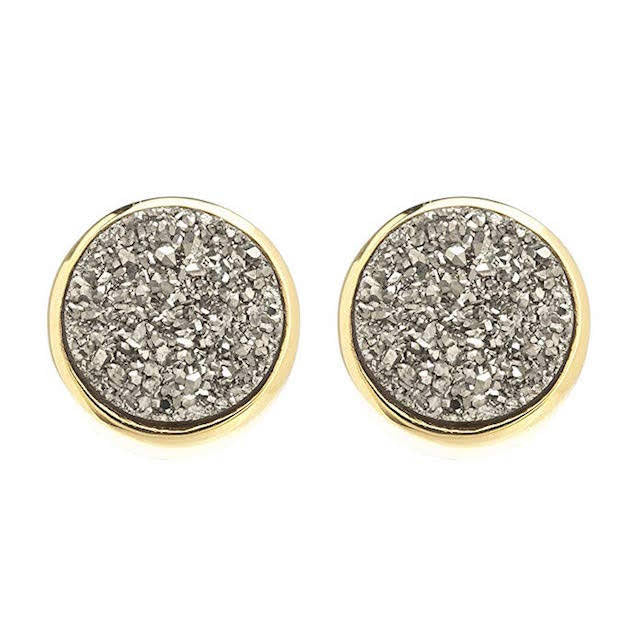 Sonya Renee 10mm Silver Drusy Stud Earrings