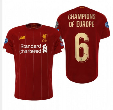LIVERPOOL FC *CHAMPIONS OF EUROPE 6* Special Edition Home Shirt - 19/20 Season