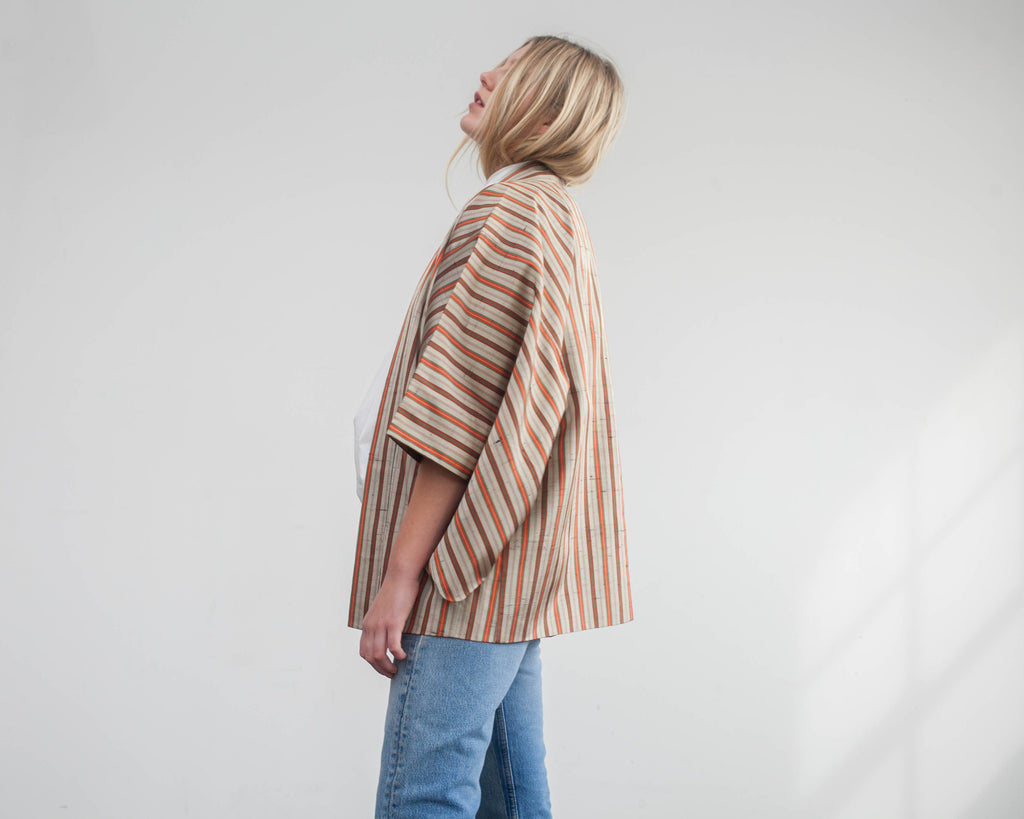 stripe silk jacket