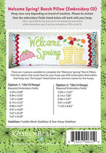 Load image into Gallery viewer, KIMBERBELL WELCOME SPRING! BENCH PILLOW (APRIL) – MACHINE EMBROIDERY CD