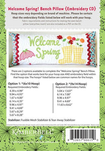 KIMBERBELL WELCOME SPRING! BENCH PILLOW (APRIL) – MACHINE EMBROIDERY CD