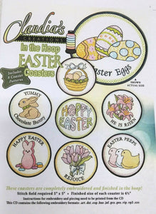 CLAUDIA'S CREATIONS  IN THE HOOP EASTER COASTERS