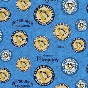 NHL Cotton Print Fabric Pittsburgh Penguins SOLD BY THE YARD