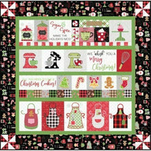 Load image into Gallery viewer, WE WHISK YOU A MERRY CHRISTMAS QUILT KIT (BLACK BORDER) EMBROIDERY