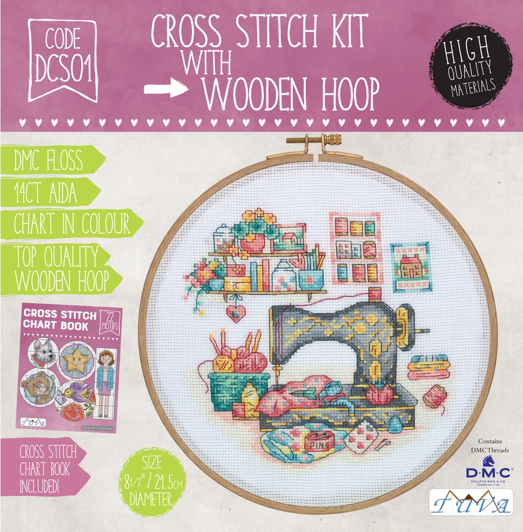 CROSS STITCH KIT WITH WOODEN HOOP- SEWING ROOM