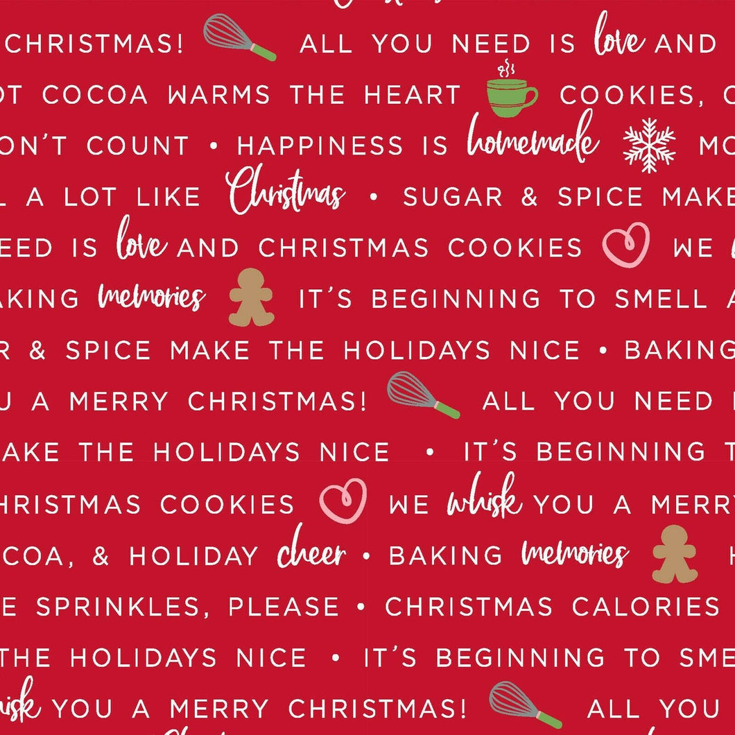 We Whisk You A Merry Christmas Holiday Baking Phrases (Red )    SOLD BY YARD