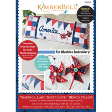 "Load image into Gallery viewer, KIMBERBELL ""AMERICA, LAND THAT I LOVE!"" BENCH PILLOW ME"