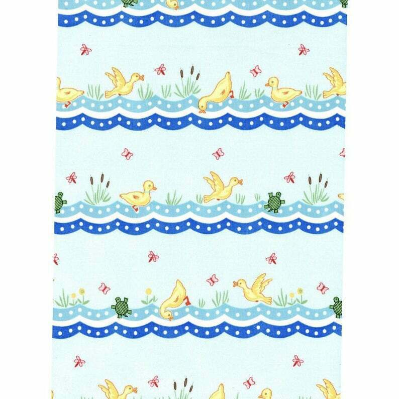 Animal Quackers Fabric Teal Duck Stripe by Maywood Studio Sold by the Yard