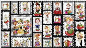 "LORALIE DESIGNS ""SEW CURIOUS"" FABRIC PANEL BLACK (24"" x 44"") SOLD BY PANEL"