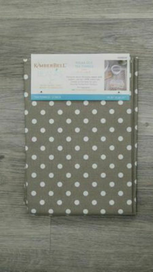 POLKA DOT TEA TOWELS WARM GREY by Kimberbell (2 pack)