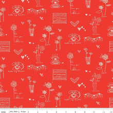Load image into Gallery viewer, From the Heart Red Main or Cream Fabric by Riley Blake SBY