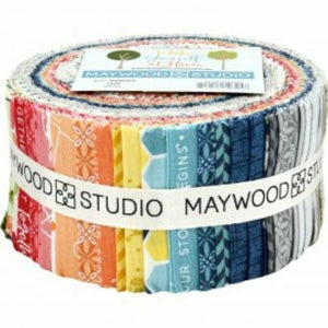 "MAYWOOD STUDIO MAKE YOURSELF AT HOME- 2.5"" STRIPS FABRIC ROLL"