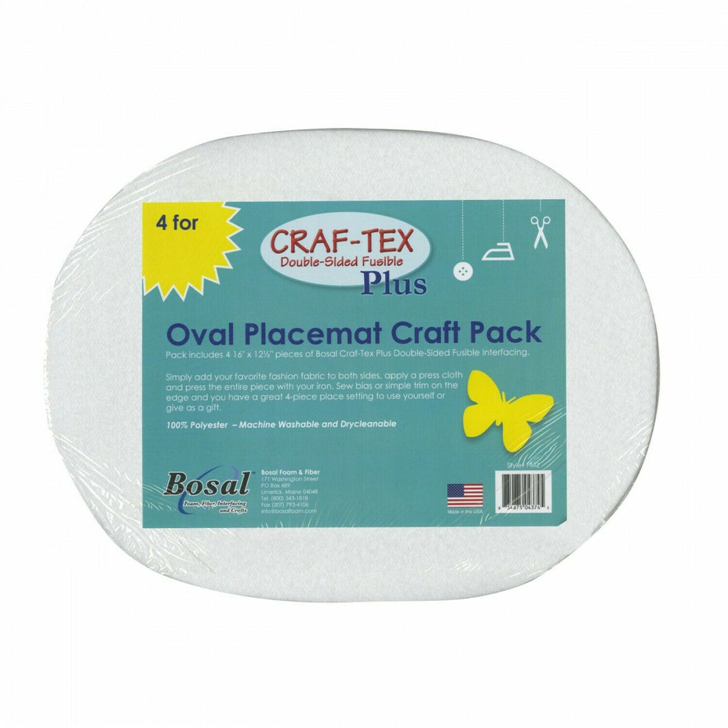 Oval Placemat Craft Pack (4) Bosal Craf-Tex Plus Double Sided Fusible Interfacin