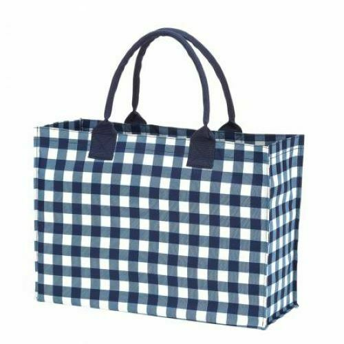 TOTE BAG NAVY CHECK by Viv & Lou