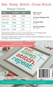 Eat. Sleep.Stitch.Repeat. Cross stitch pattern by It's Sew Emma