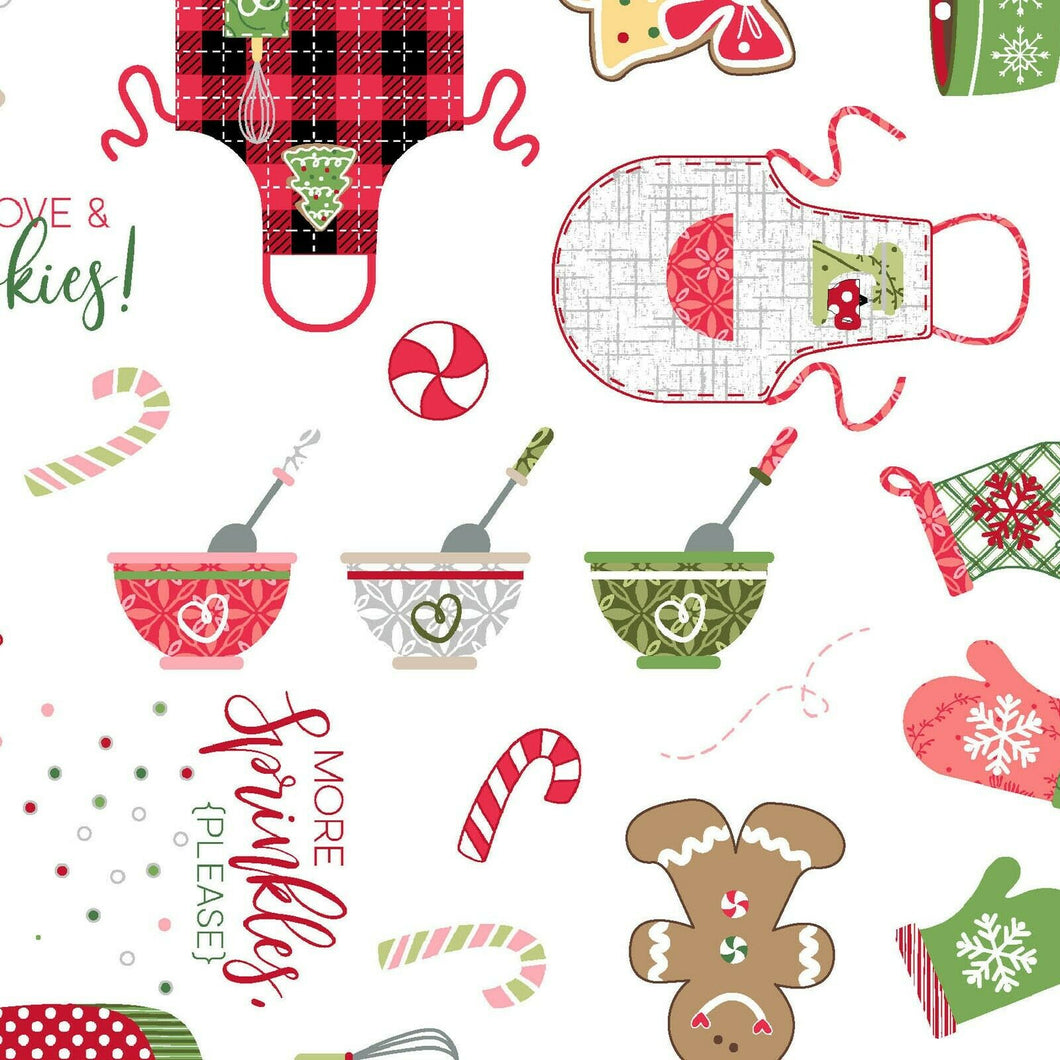 WE WHISK YOU A MERRY CHRISTMAS FABRIC ( White) SOLD BY THE YARD