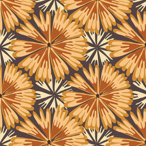Bloom Full Bloom Flowers Fabric (Orange) by Paintbrush Studio SBY