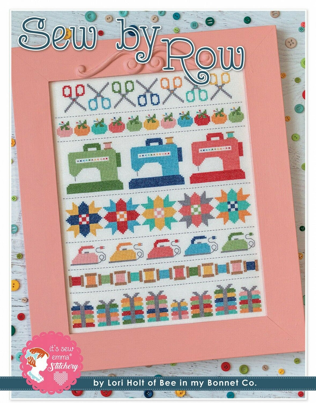 Sew By Row Cross Stitch Pattern with DMC Threads by Lori Holt