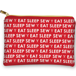 Sewing Notions Bag Eat Sleep Sew by Moda Fabric Red