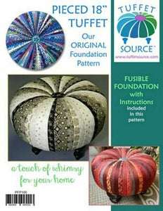 "PIECED 18"" TUFFET WITH FUSIBLE FOUNDATION w/ INSTRUCTIONS AND PATTERN"
