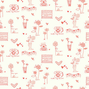 From the Heart Red Main or Cream Fabric by Riley Blake SBY