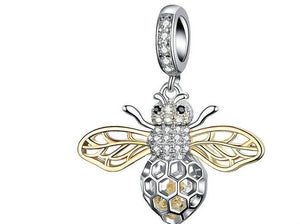 Genuine 925 Sterling Silver Clear Zircon Bee Charms