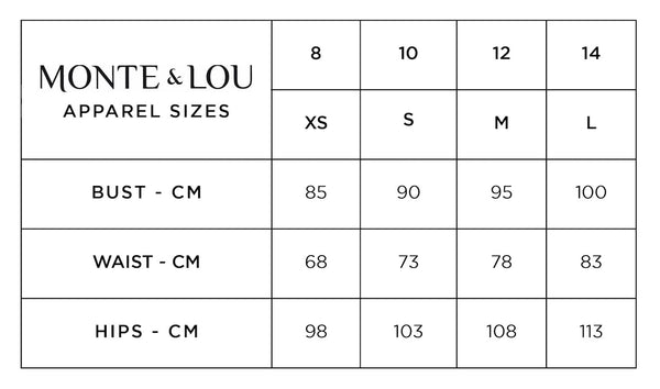 monte & lou clothing size chart