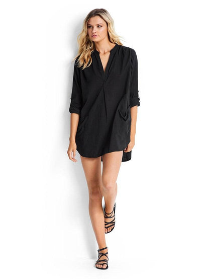 Beach Basics Boyfriend Beach Shirt OVERSWIM SEAFOLLY XS Black