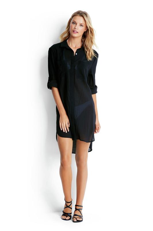 Beach Basics Crinkle Twill Beach Shirt OVERSWIM SEAFOLLY XS Black