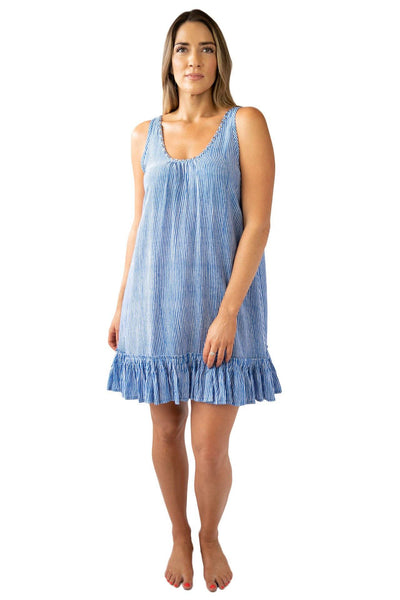 Bella Beach Dress Stripes OVERSWIM LOVE LILY S/M Cobalt