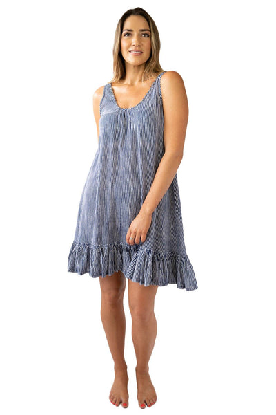 Bella Beach Dress Stripes OVERSWIM LOVE LILY S/M Navy