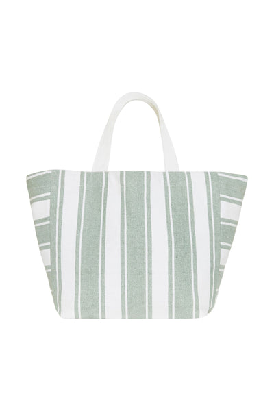 Carried Away Canvas Stripe Tote BAGS SEAFOLLY OS SAGE