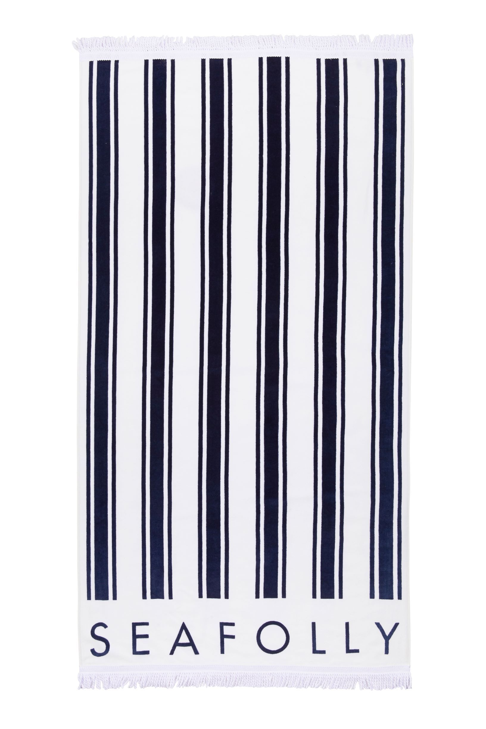 Fringe Benefits French Stripe Beach Towel TOWEL SEAFOLLY OS Indigo