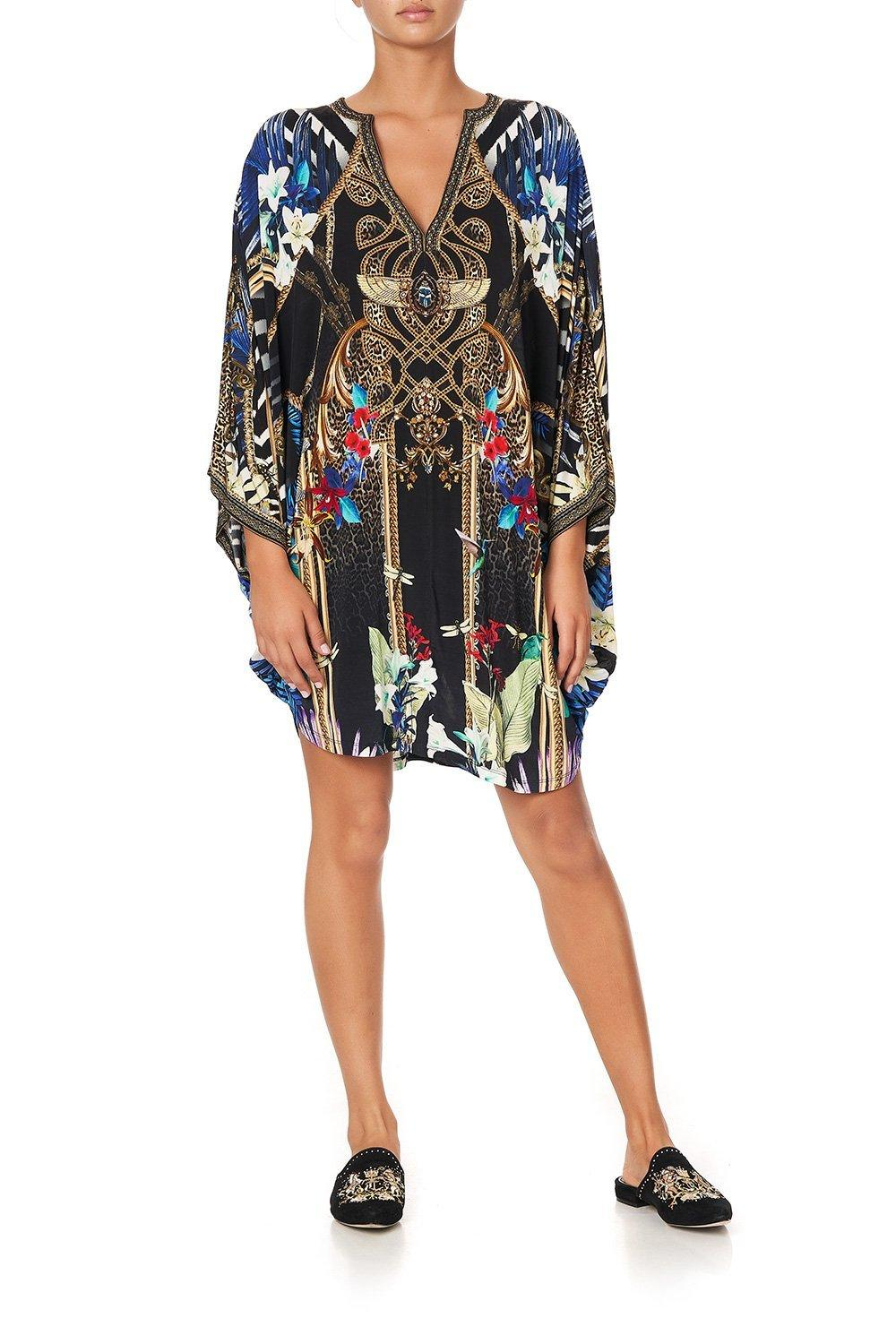 Rainbow Room Jersey Short Kaftan with Curved Hem KAFTAN CAMILLA OS Multi