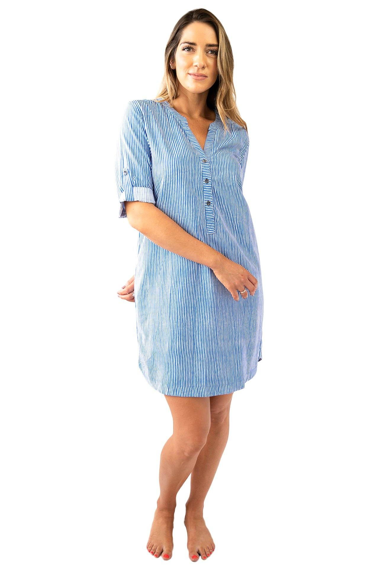 Sally Shirt Dress Stripes DRESS LOVE LILY XS Cobalt