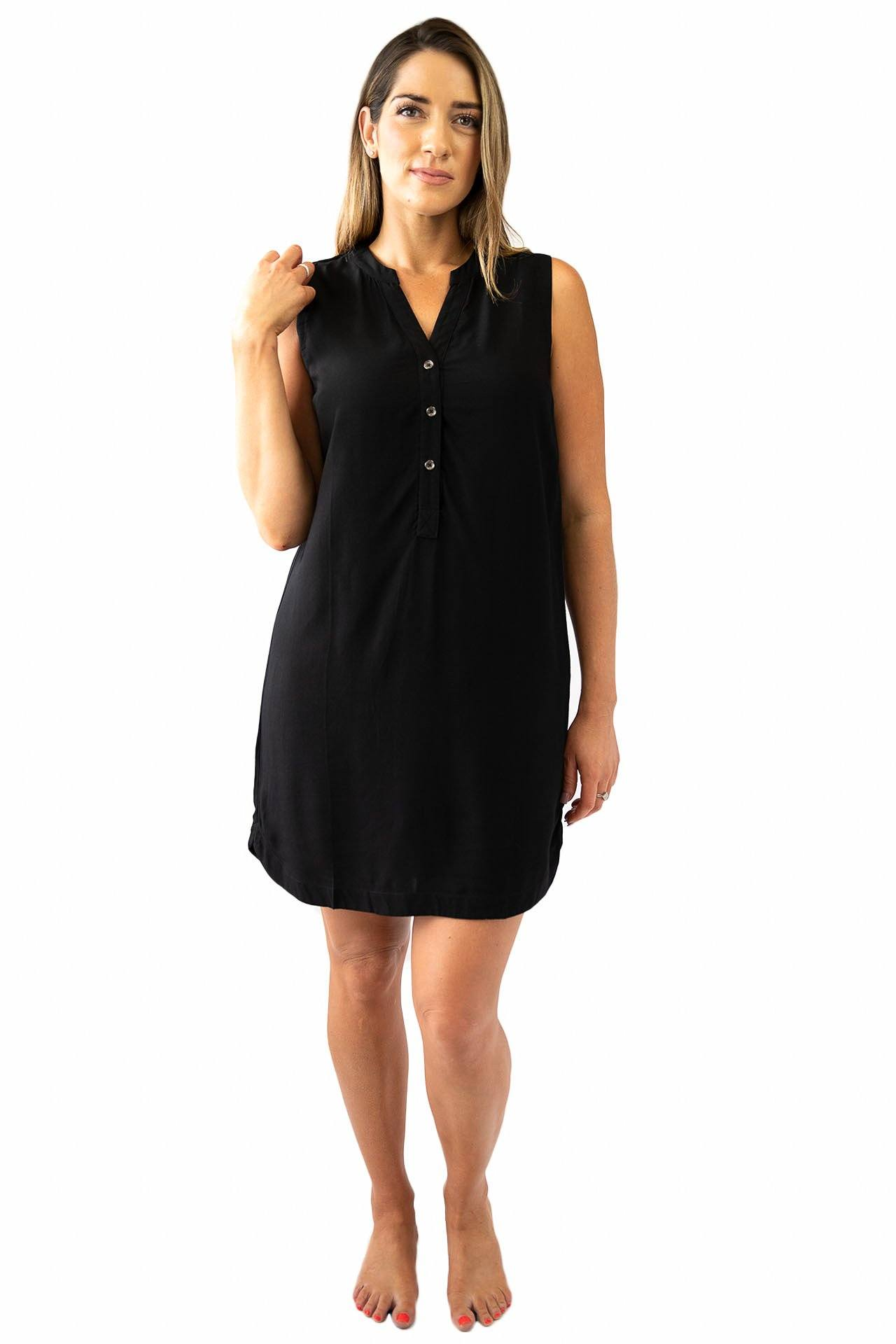 Sally Sleeveless Shirt Dress DRESS LOVE LILY XS BLACK