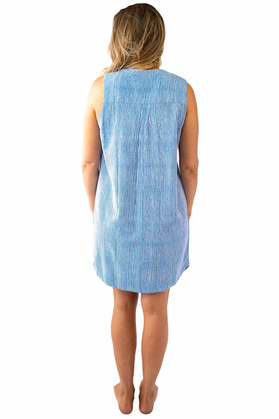 Sally Sleeveless Shirt Dress Stripes DRESS LOVE LILY