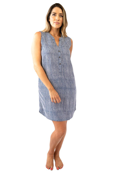 Sally Sleeveless Shirt Dress Stripes DRESS LOVE LILY XS Navy