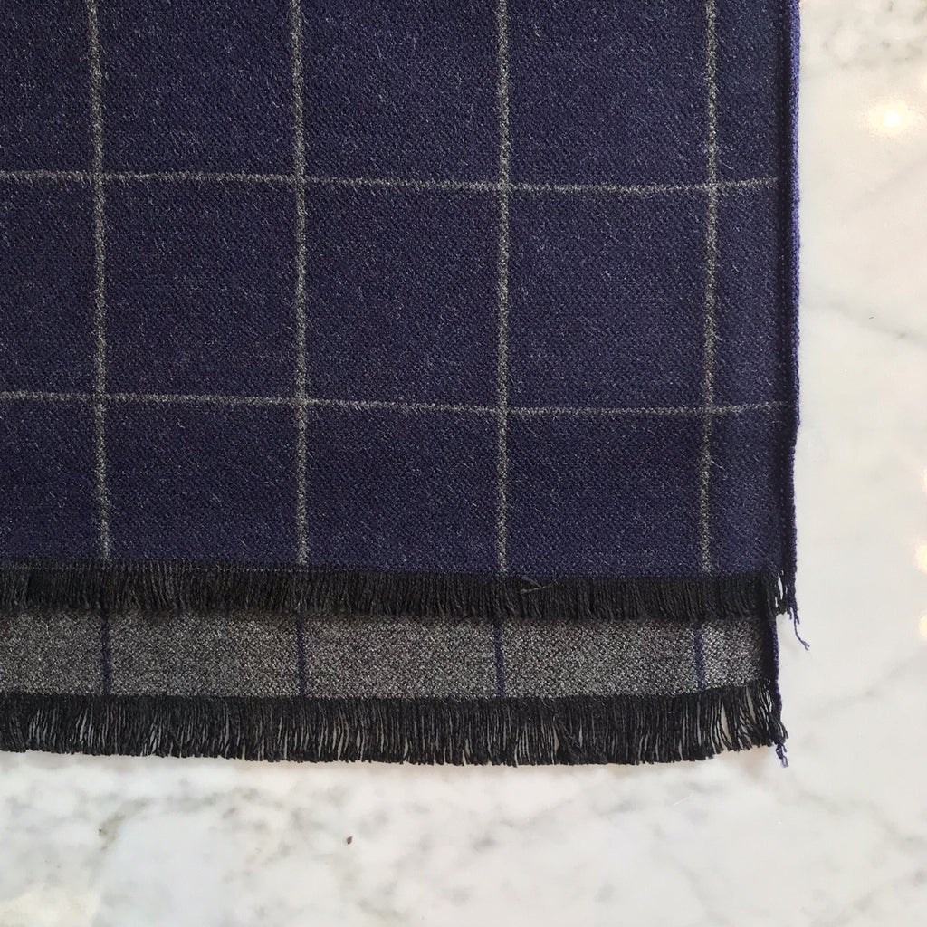 Reversible Blue and Gray Plaid Scarf