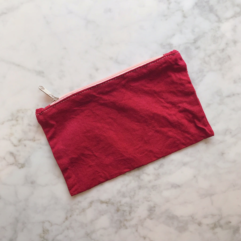 Hand Dyed Zip Pouch in Pomegranate