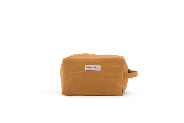 Linen Toiletry Bag in Honey