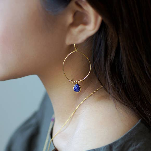 Gold and Sapphire Hoop Earrings