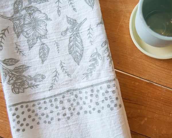 Floral Tea Towel in Gray